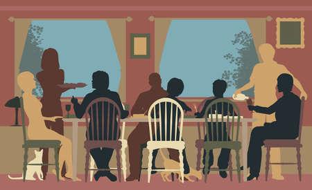 jídelna: Editovatelné barevné siluety rodiny stolování spolu doma nebo v restauraci, Ilustrace