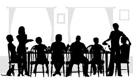 family eating: Editable silhouettes of a family dining together with all elements as separate objects