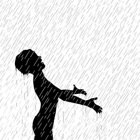Editable illustration of a young boy enjoying the rain Vector