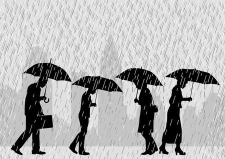 drenched: Editable illustration of people on a city street walking through rain with umbrellas Illustration