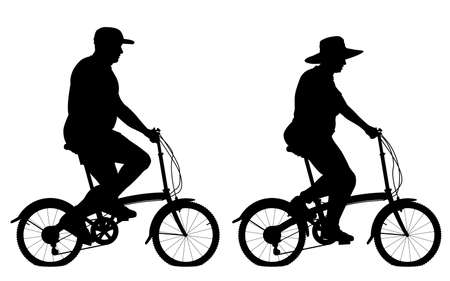 Editable vector silhouettes of an overweight couple riding small bicycles for exercise with people, bicycles and hats as separate objects Vector