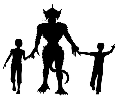 Editable vector silhouettes of two children leading a lizard monster by the hands with figures as separate objects Stock Vector - 18704715