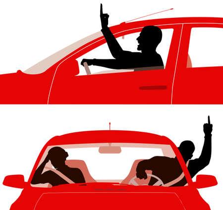 conflictos sociales: Dos ilustraciones vectoriales editables de un hombre enojado en un coche rojo groseramente gesticulando mientras conducen - dedos medios son objetos separados f�cilmente removidos para dejar un pu�o