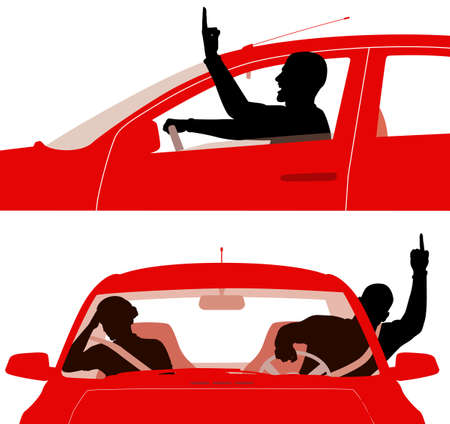 road rage: Two editable vector illustrations of an angry man in a red car rudely gesturing whilst driving - middle fingers are separate objects easily removed to leave a fist