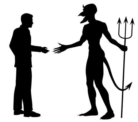 Editable vector silhouette of a man hesitating to shake hands to do a deal with the devil