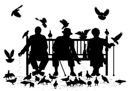 탁상: 별도 개체로 모든 요소와 비둘기 먹이 공원 벤치에 세 노인의 편집 가능한 벡터 실루엣