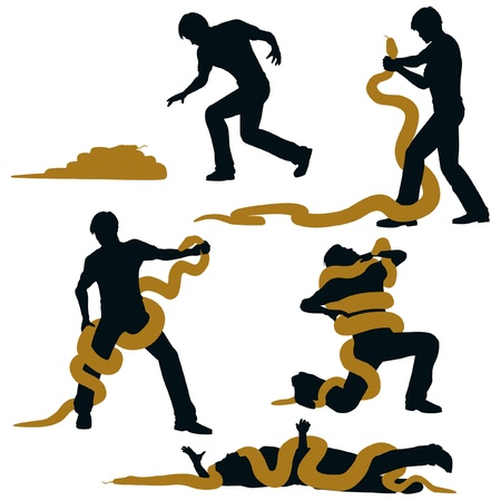 wrestle: Editable vector illustration sequence of a man wrestling with a large snake and losing Illustration
