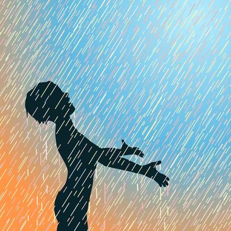 Editable illustration of a young boy enjoying the rain Vector