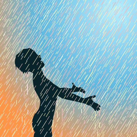 soaking: Editable illustration of a young boy enjoying the rain Illustration