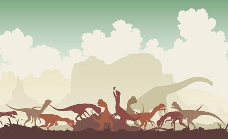 larger: Editable  illustration of Dilophosaurus dinosaurs feeding on a larger animal