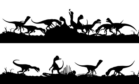 carrion: Two consecutive editable  silhouettes of Dilophosaurus dinosaurs feeding on prey with dinosaurs as separate objects