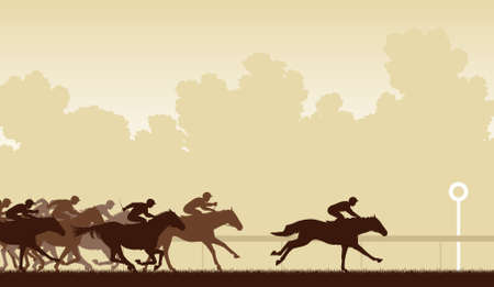 horse silhouette: Editable  illustration of a horse race with one horse and jockey about to win