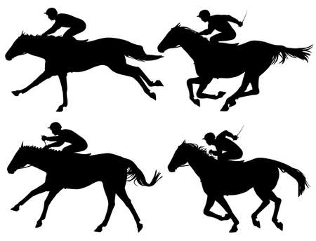 thoroughbred horse: Editable  silhouettes of racing horses with horses and jockeys as separate objects Illustration