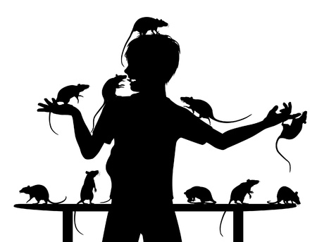 animal lover: Silhouettes of a young boy and his pet rats with all figures as separate objects