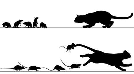 venganza: Siluetas de un gato acechando a las ratas que luego persiguen con todos los elementos como objetos separados Vectores