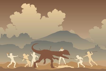 neanderthal man: Editable illustration of cavemen fighting a Dilophosaurus dinosaur in a primeval landscape