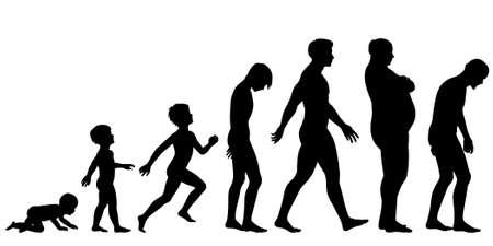 поколение: Редактируемые силуэт последовательность различных этапах жизни человека Иллюстрация