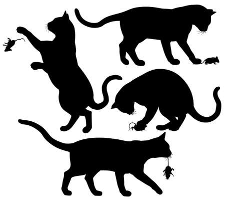 black cat silhouette: Four editable silhouettes of a cat playing with a mouse