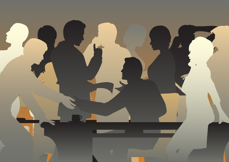 kommunikation: Redigerbara vektor silhuetter av människor i en upptagen kontor eller möte Illustration