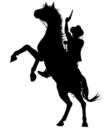 cowboy gun: Editable silhouette of a cowboy shooting a pistol on a rearing horse