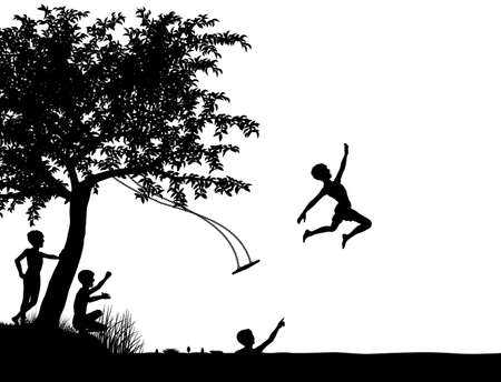 Editable silhouette of young boys leaping off a tree swing into a lake or river Illustration