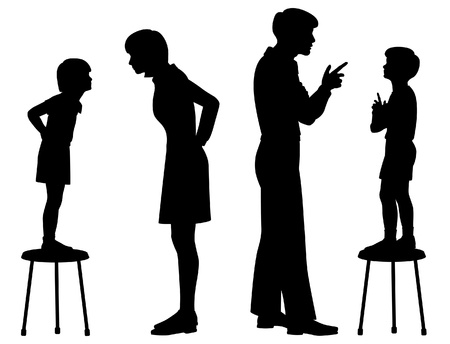 upbringing: Editable silhouettes of children copying their parents