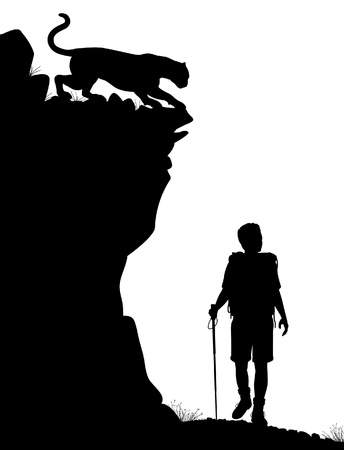 crouch: Editable silhouette of a lone hiker being stalked by a cougar