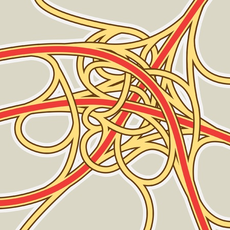 junctions: Editable vector illustrated map of a complicated three-road generic intersection Illustration