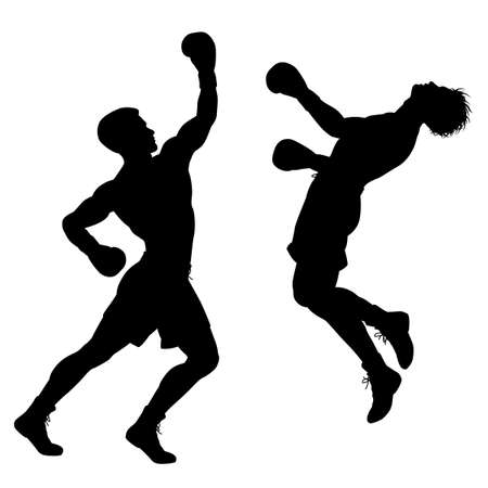 opponent: Editable vector silhouette of boxer knocking out his opponent with an uppercut punch
