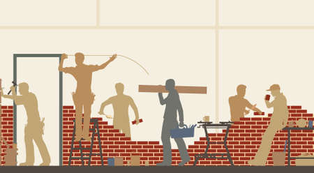 building site: Editable illustration of construction workers at a building site