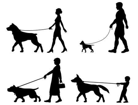 caminar: Siluetas editables de contraste perros y los due�os Vectores