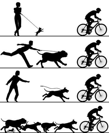 dog leashes: Four editable silhouettes of dogs reacting Illustration