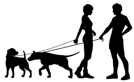 dog leash: Editable silhouettes of a man and woman and their pet dogs interacting