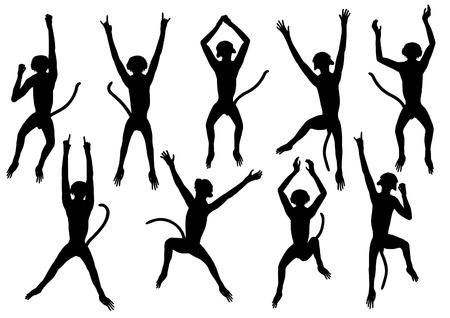 jumping monkeys: Set of editable silhouettes of jumping monkeys