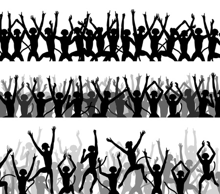 primate: Editable silhouettes of crowds of excited monkeys