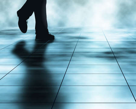 shadow man: Editable vector illustration of a man walking across a tiled floor made using a gradient mesh