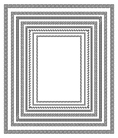 enable: Set of editable vector frame border designs made with unflattened paths to enable changes to line thickness Illustration