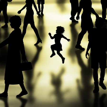 girl shadow: Editable vector silhouette of a young girl skipping in a crowded hall made using a gradient mesh