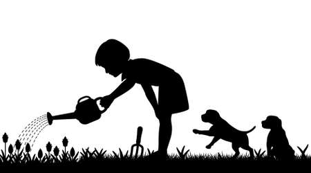 lawn care: Editable silhouette of a young girl watering her garden and two puppies with figures as separate objects
