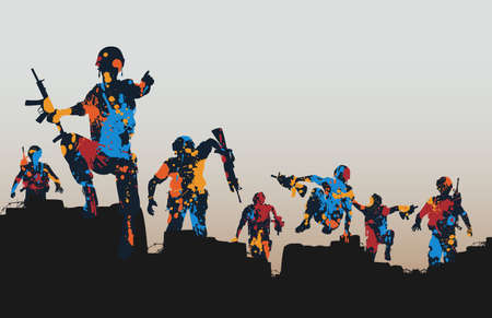 Editable illustration of paint splattered armed soldiers charging forward  Vector