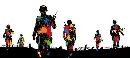 combat: Editable illustration of paint splattered soldiers walking on patrol