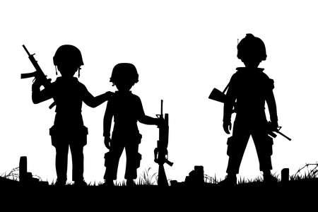 niños vistiendose: Siluetas vectoriales editables de tres niños vestidos como soldados con figuras como objetos separados