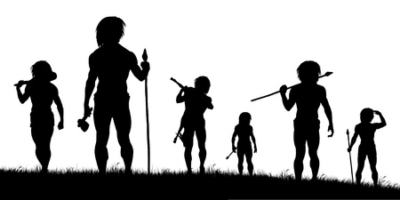 hombre prehistorico: Siluetas vectoriales editables de cazadores de hombres de las cavernas con cada figura como un objeto independiente