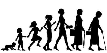 etapas de vida: Siluetas vectoriales editables de las diferentes etapas de una mujer