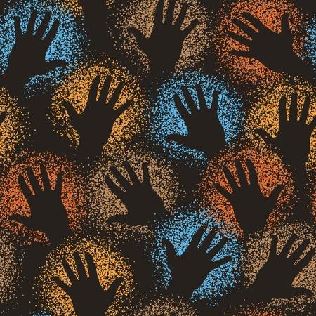 pintura rupestre: Baldosas vectoriales editables sin fisuras de arte rupestre de pintura pulverizadas manos
