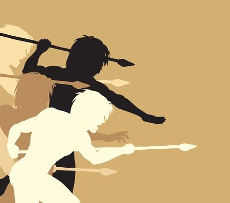 threateningly: Editable vector silhouettes of cavemen holding spears threateningly Illustration