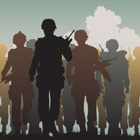 battlefield: Editable vector silhouettes of armed soldiers walking together