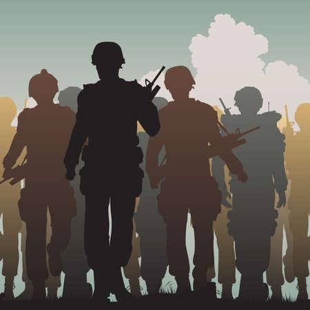 comandante: Vettoriale modificabile sagome di soldati armati che camminano insieme