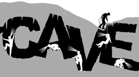cueva: Ilustración vectorial editable de espeleólogos que exploran una cueva en la forma de la palabra con figuras como objetos separados