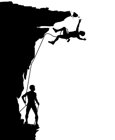 peril: Editable vector silhouette of a climber falling from a breaking overhang with figures as separate objects